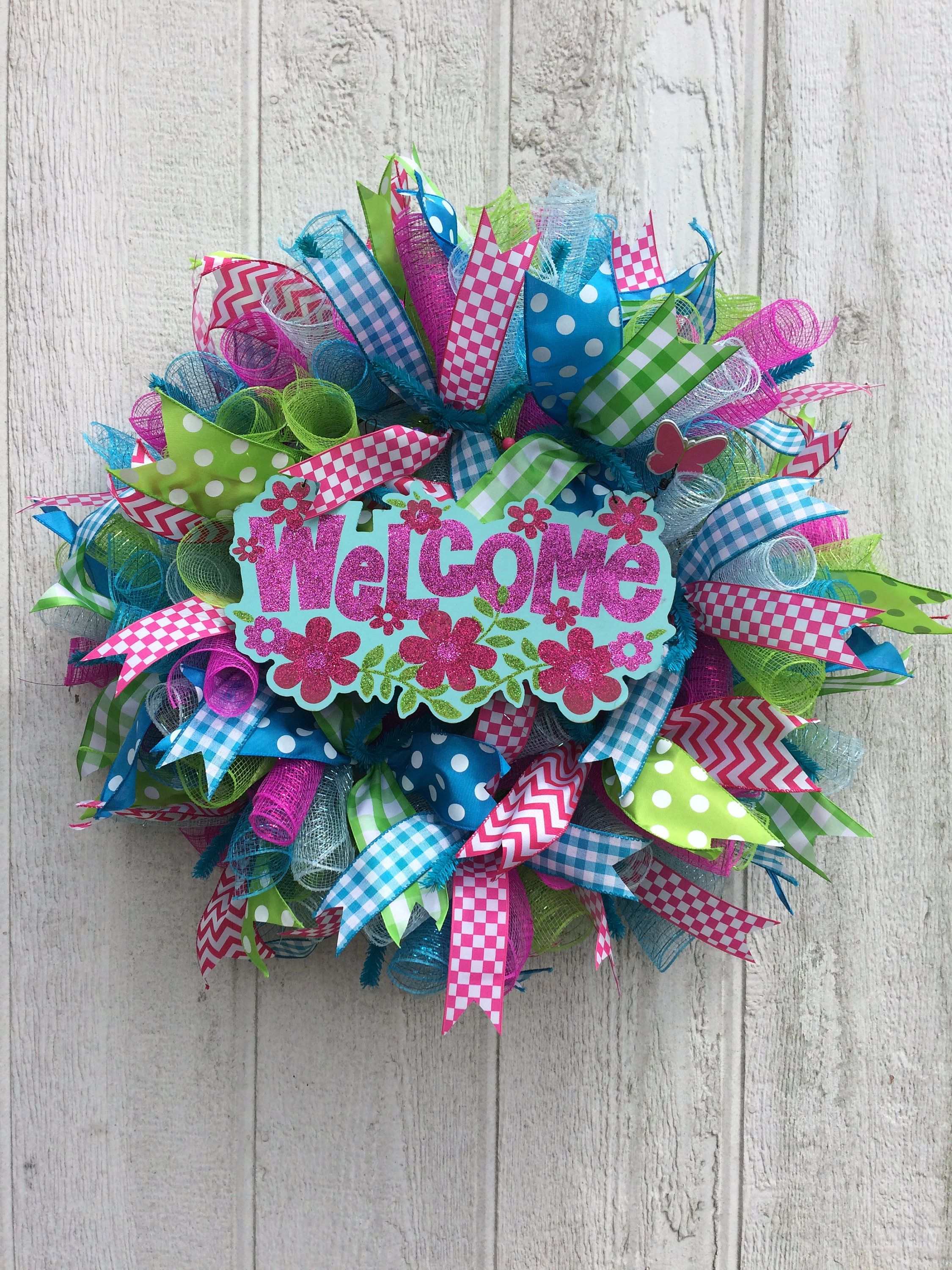 Welcome Wreath Mesh Door Front By Designsbydutches On Etsy