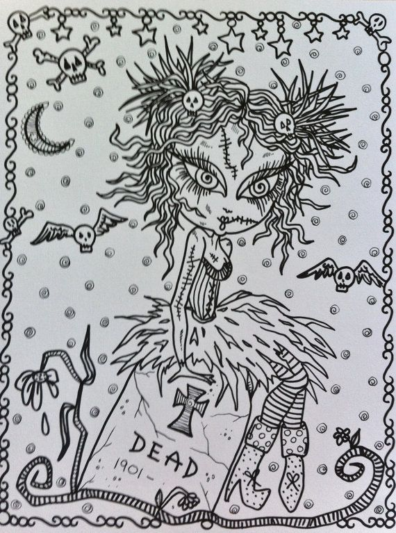 COLORING BOOK ZomBie GiRL Adult Coloring Book For You To Color And Be The Artist Have Some Zombie Fun