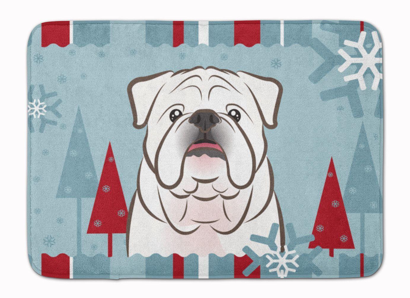 Winter Holiday White English Bulldog Machine Washable Memory Foam ...