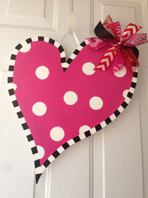 Hand Painted Wooden Heart Valentine Door Hanger Wreath Craft Valentine S Day Polka Dots White Valentines Door Hanger Burlap Door Hangings Wooden Hearts Crafts