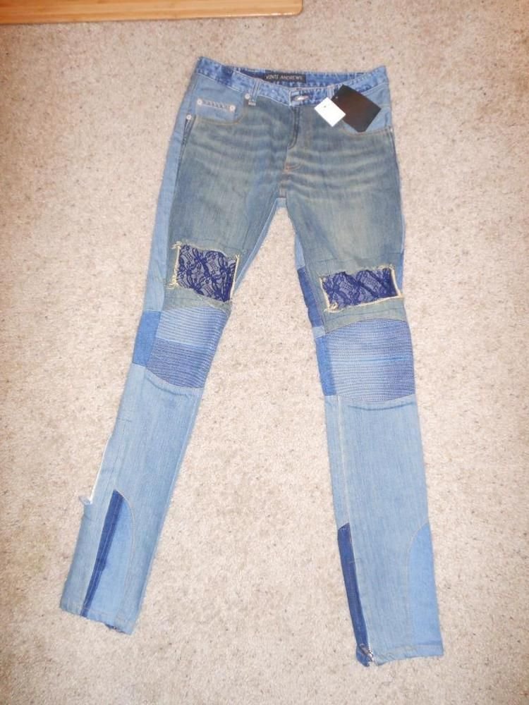 Vinti Andrews Blue Lace-paneled mid-rise Patchwork Ultra Skinny Jeans 28 #VintiAndrews #SlimSkinny