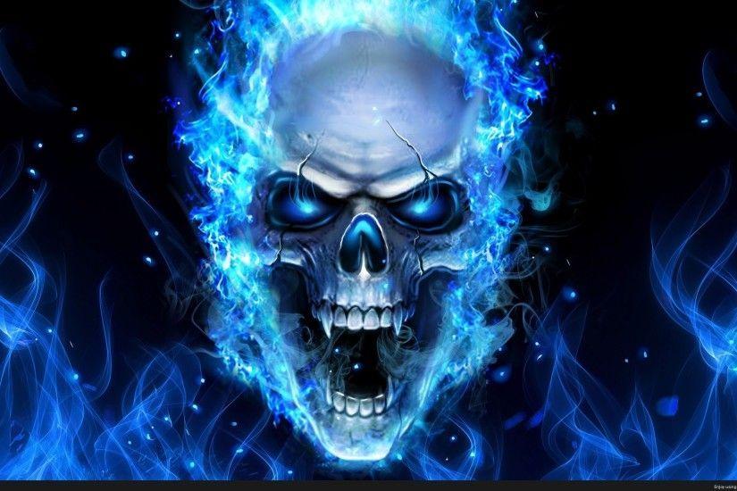 Skull On Blue Fire