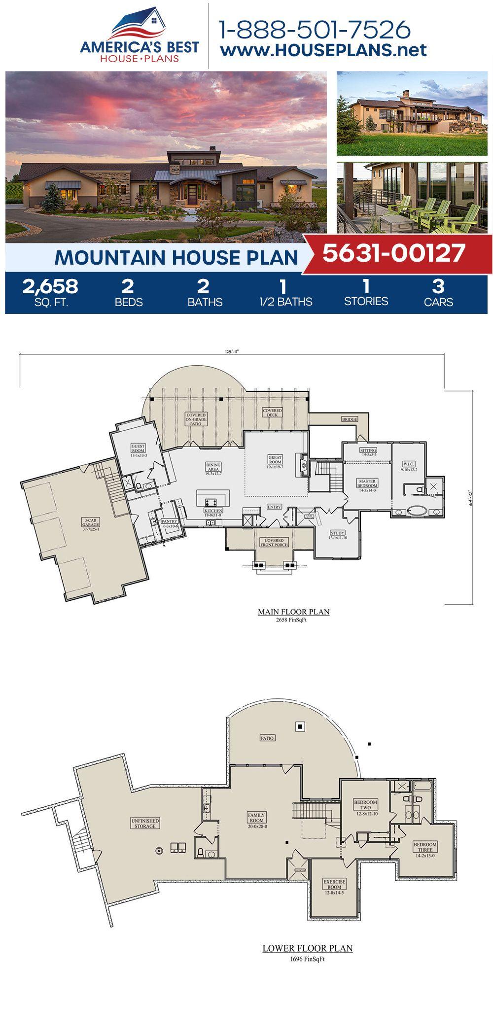 House Plan 5631 00127 Mountain Plan 2 658 Square Feet 2 Bedrooms 2 5 Bathrooms Mountain House Plans Mountain House House Plans