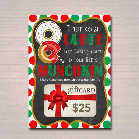 editable christmas thanks a latte coffee donut gift card holder printable teacher gift daycare teacher gift