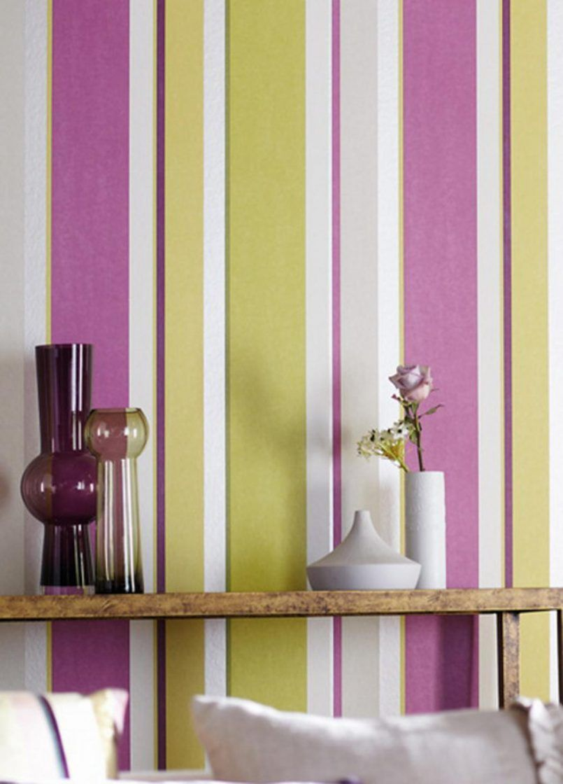Living Room Awesome Vrtical Striped Walls Paint Idea With Purple