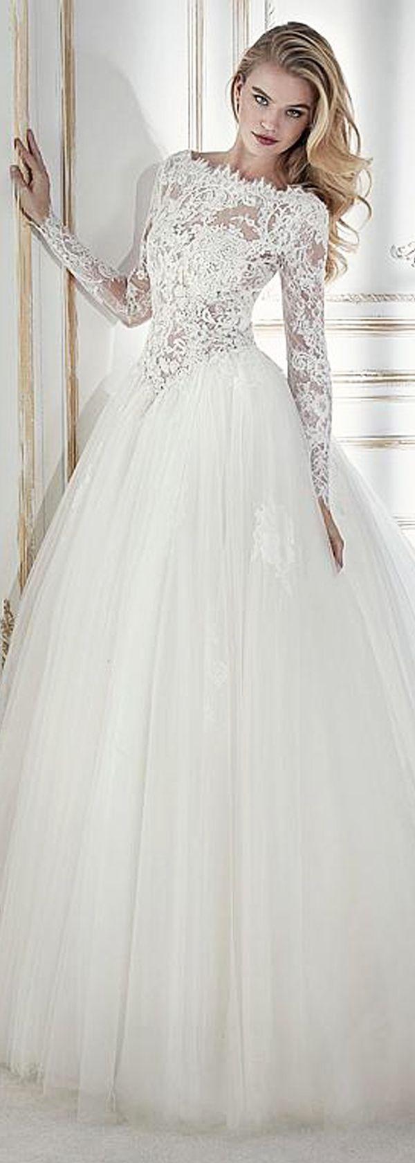 Chic tulle u lace bateau neckline seethrough bodice aline wedding