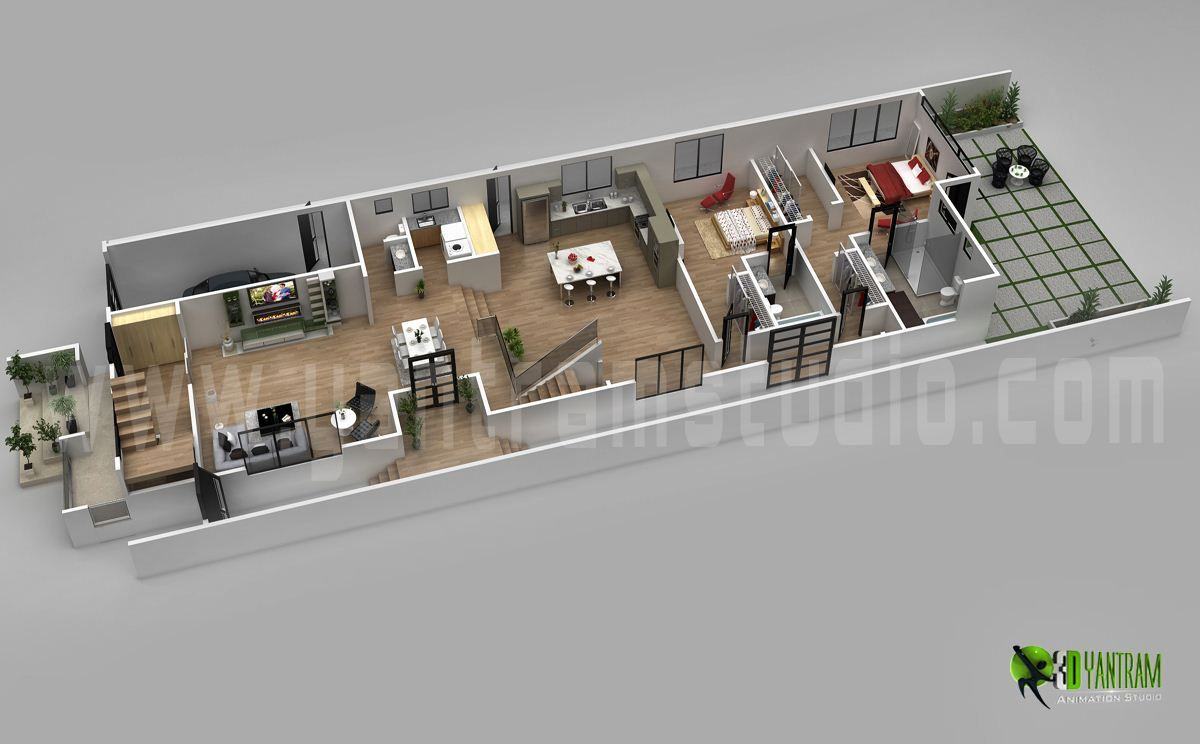 3d floor plan design for modern home 3d floor plan for Home plan 3d