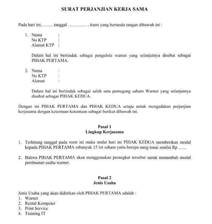 Download Contoh Surat Perjanjian Kerja Sama Lengkap Resmi Dan