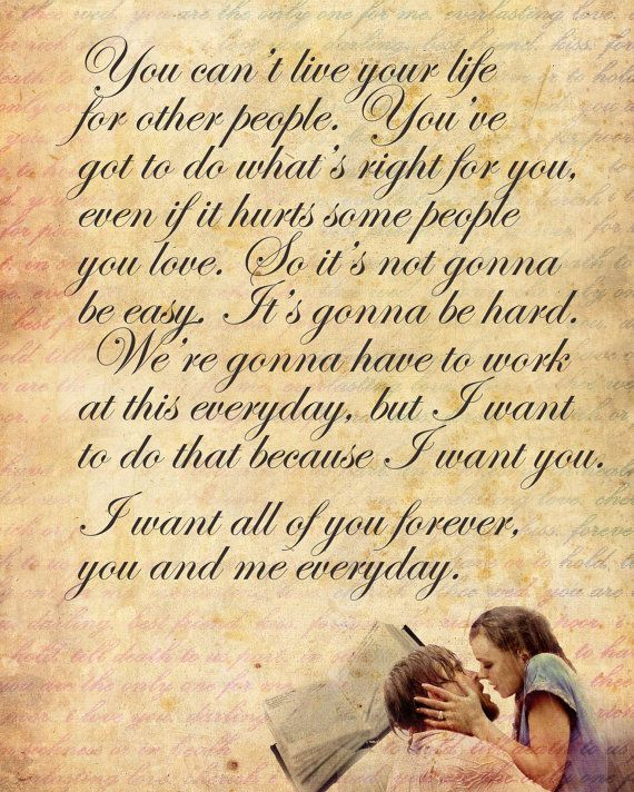 The notebook love quote poster 12x15 wedding by