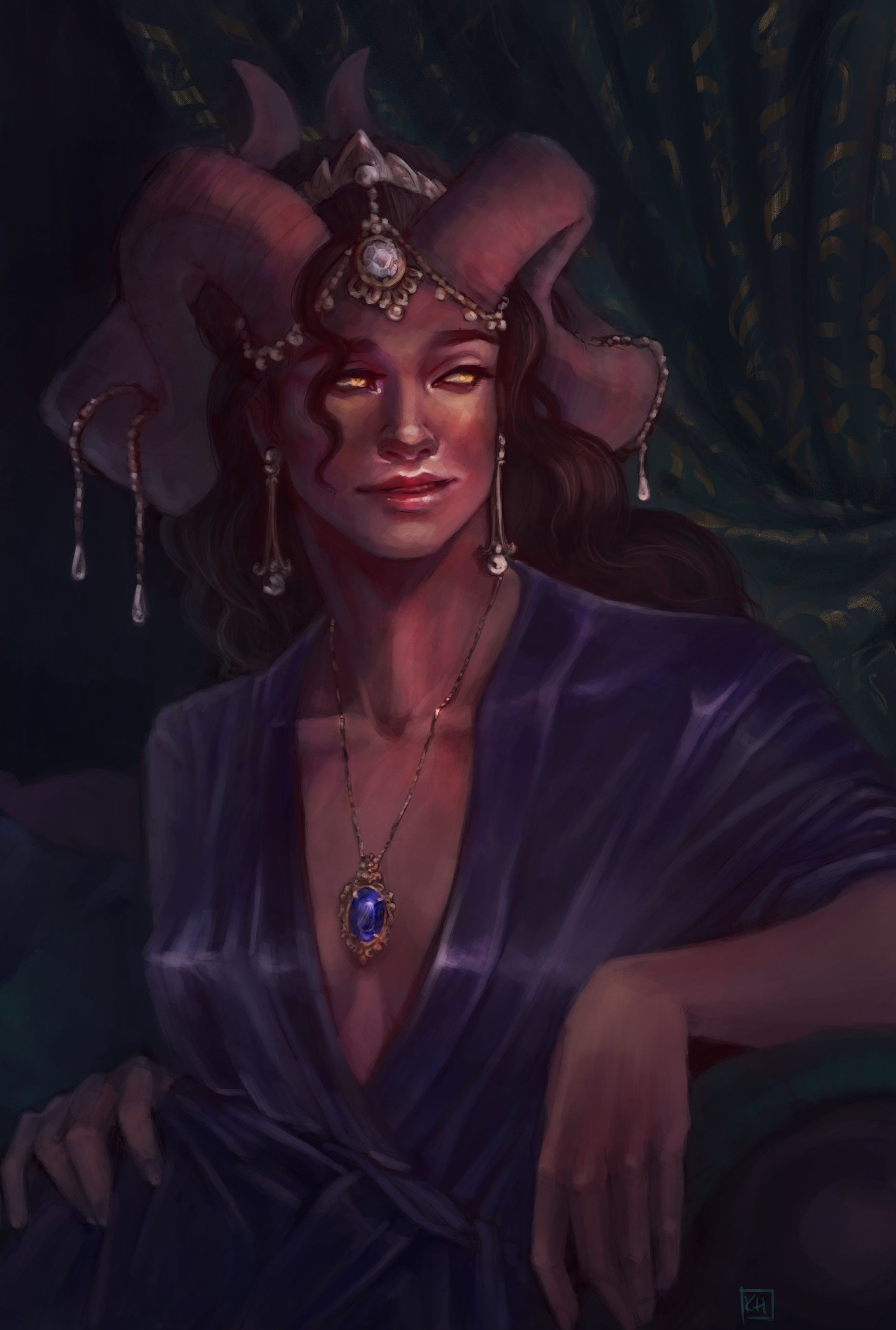Artstation Marion Lavorre The Ruby Of The Sea Katie Humes Critical Role Fan Art Character Portraits Tiefling Female