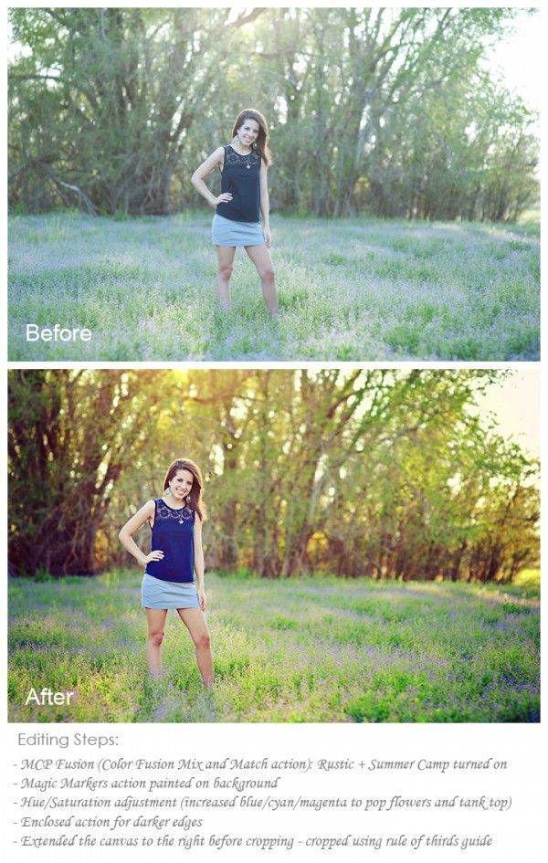 Photography tips | Photo editing | How To Edit Outdoor Senior Photos Quickly With Photoshop Actions