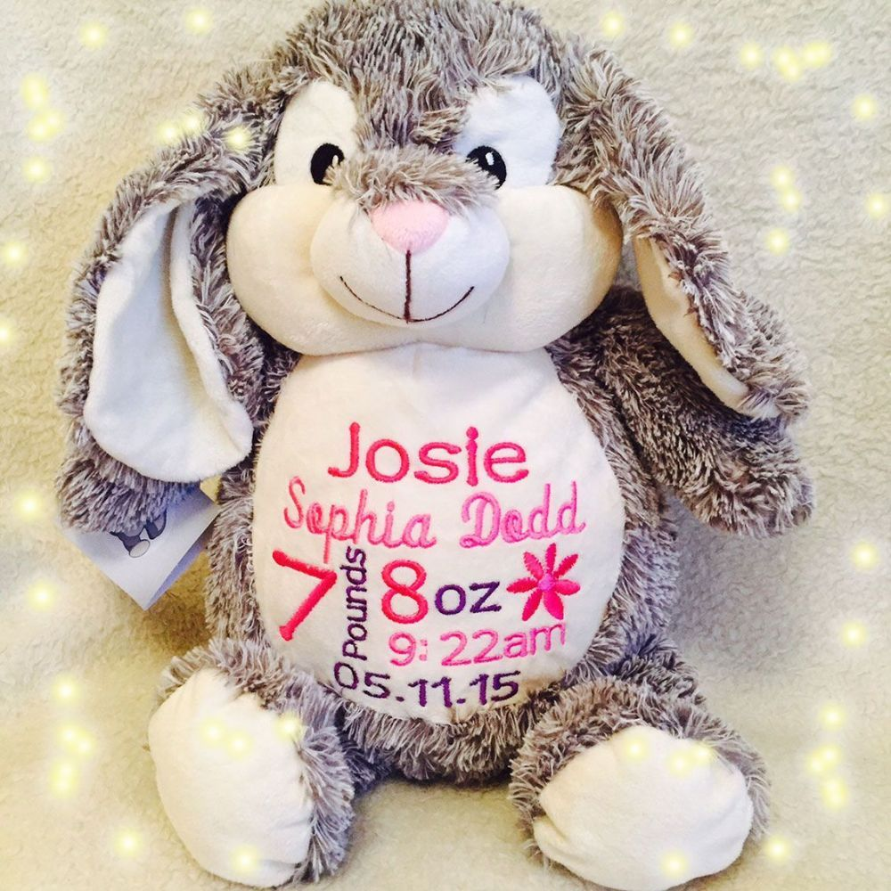 Personalised cubbie bunny rabbit soft toy animal bunny rabbit personalised baby gift baby cubbie munchkin pie bunny rabbit a plush stuffed animal keepsake with embroidered birth information birthday message or negle Gallery