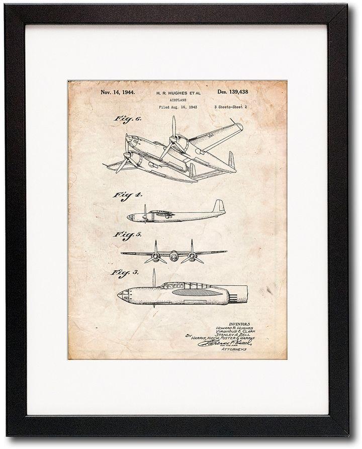 Vintage Parchment Howard Hughes Airplane Framed Patent Print ...
