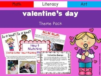 Valentine's Day Theme Pack  This will be the perfect addition to your Valentine's themed lesson plan.    This 115 page pack contains activities and resources for math, literacy, art, and circle time for your early learning environment.  Real pictures are included to help facilitate activities and art projects.