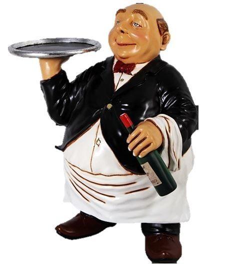 Butler Statue In Tux Tray Display Restaurant Prop