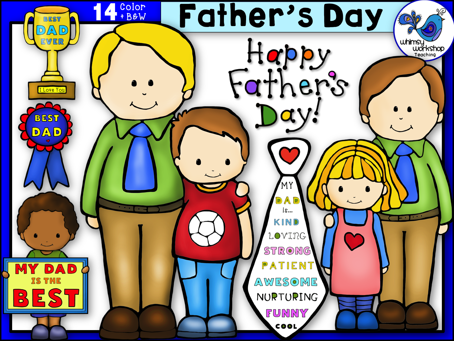 free new set of father s day clip art 14 graphics in color and black and white whimsy workshop teaching [ 1500 x 1125 Pixel ]