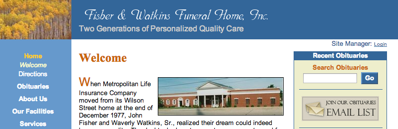 Welcome Fisher And Watkins Funeral Home Authorized Funeral