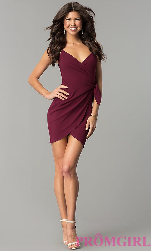Short Wrap Party Dress with Tulip Skirt - PromGirl a7c523b27