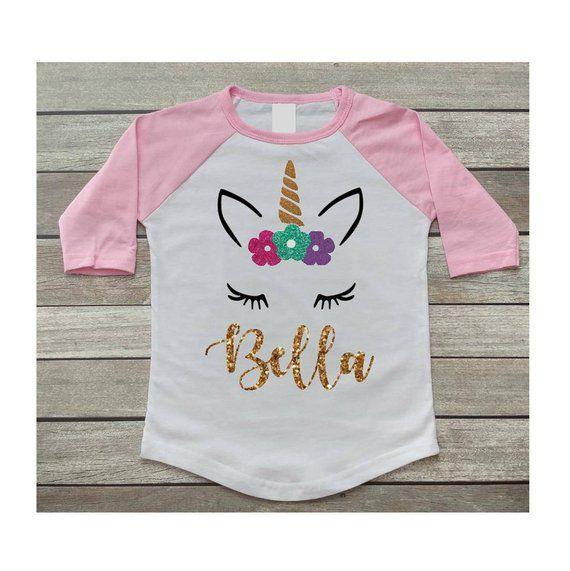 Unicorn Birthday Shirt Girls Party Personalized Gold Glitter Pink Ra