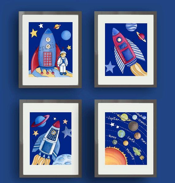 Children space art - boys space nursery - childrens wall art prints ...