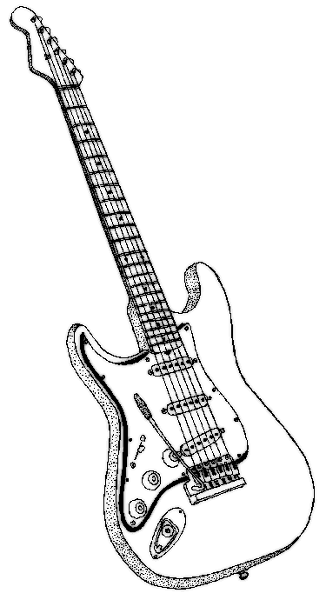 Music And Musical Instrument Coloring Pages And Pictures Guitar Sketch Coloring Pages Guitar Drawing