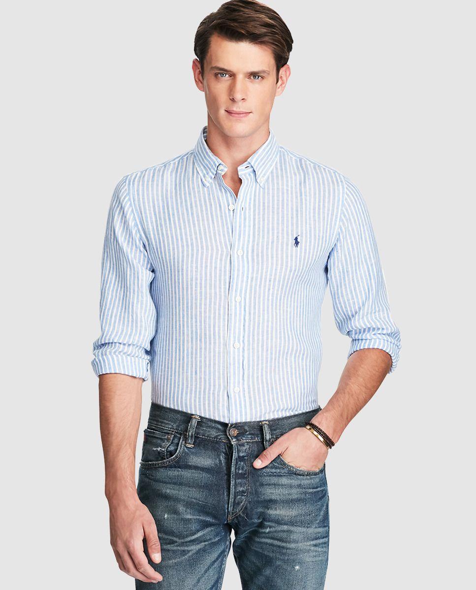 Camisa de hombre Polo Ralph Lauren regular de lino de rayas azul