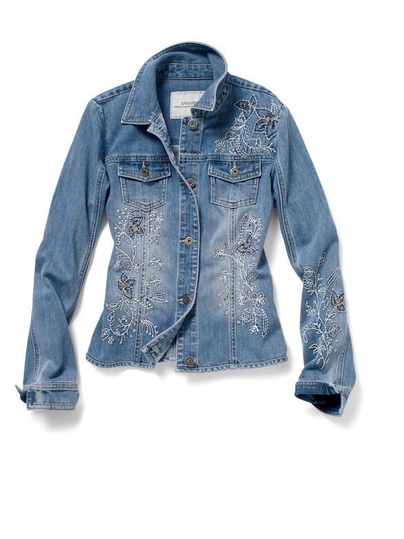 a7a1a5f870 30th Anniversary Collection  Floral Embroidered Denim Jacket  chicos   WildAbout30