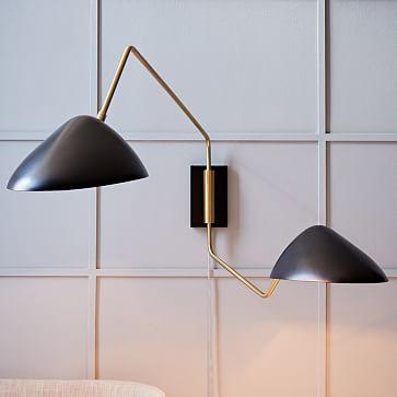 Curvilinear Mid Century Sconce 2 Light Grand Black Brass Westelm Mid Century Modern Sconces Modern Wall Lamp Mid Century Sconce