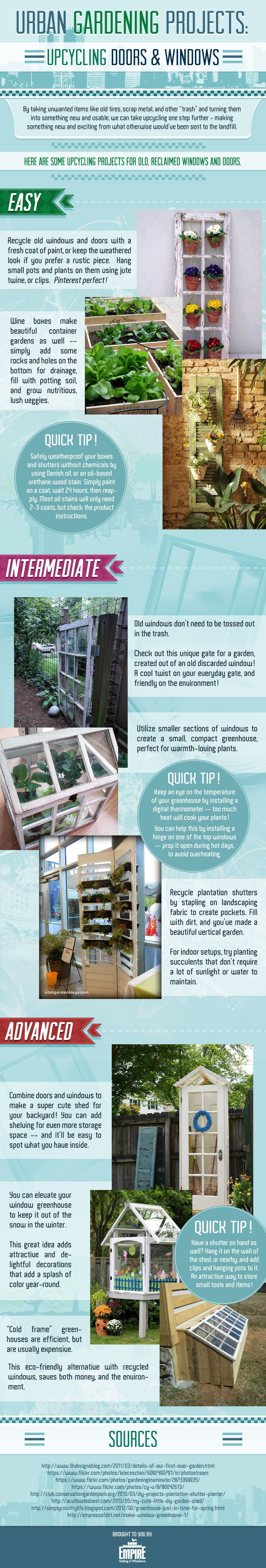 Upcycling Old Windows & Doors: Wintertime Gardening Projects #organicmakeupinfographic Upcycling Old Windows & Doors: Wintertime Gardening Projects