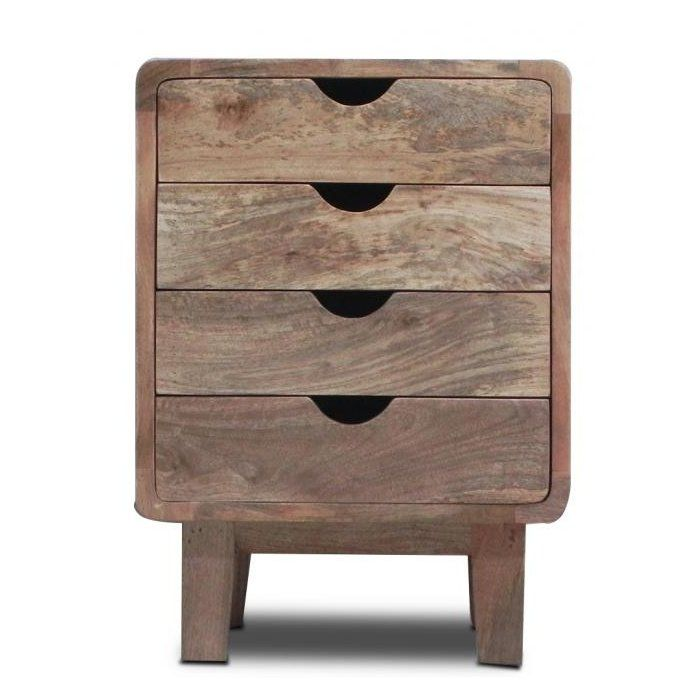 Retro 4 Drawer Bedside Table