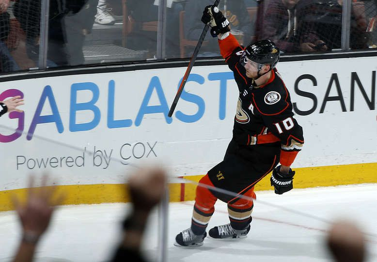 0a118492a Corey Perry  10 of the Anaheim Ducks celebrates his goal in the second  period of the game against the Edmonton Oilers on February 9