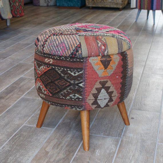 Boho Furniture, Kilim Round Stool, Stool Covered With