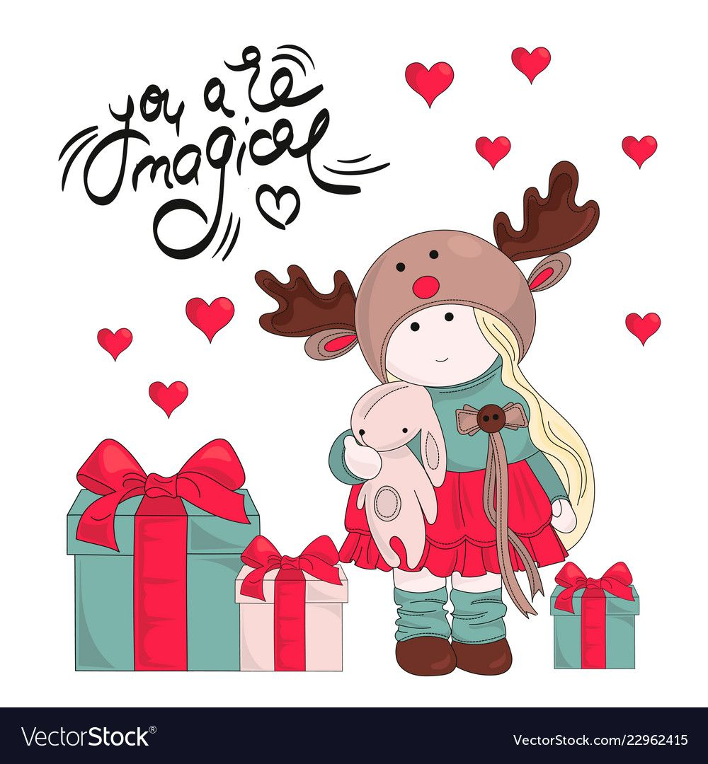 Magic gifts merry christmas color vector image on в 2020 г