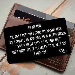 To My Man Youre My Missing Piece – Wallet Insert Love Note