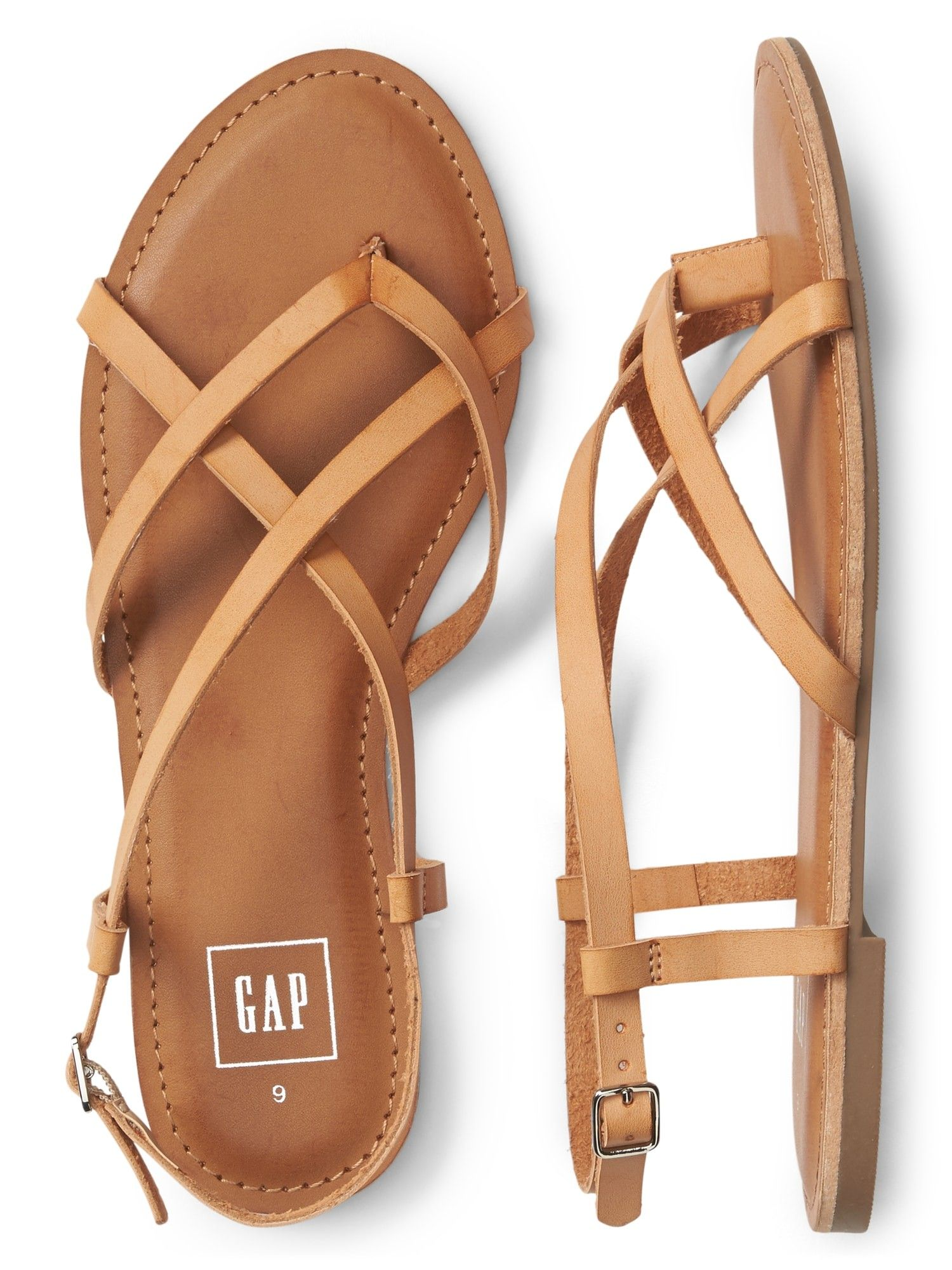 2c39c57e4 Gap Womens Strappy Flat Sandals In Leather - Black Ink 5