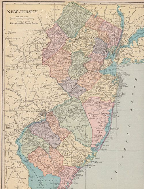 Vintage Map of New Jersey downloadable Map art for collage or ...