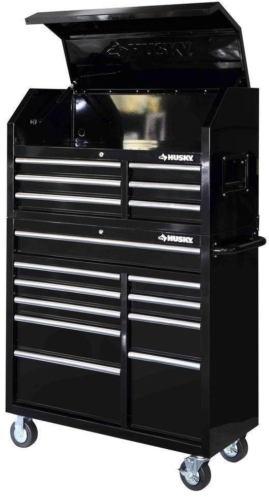 Husky  Drawer Mechanics Toolbox Top And Bottom Rolling Tool Storage Set Black