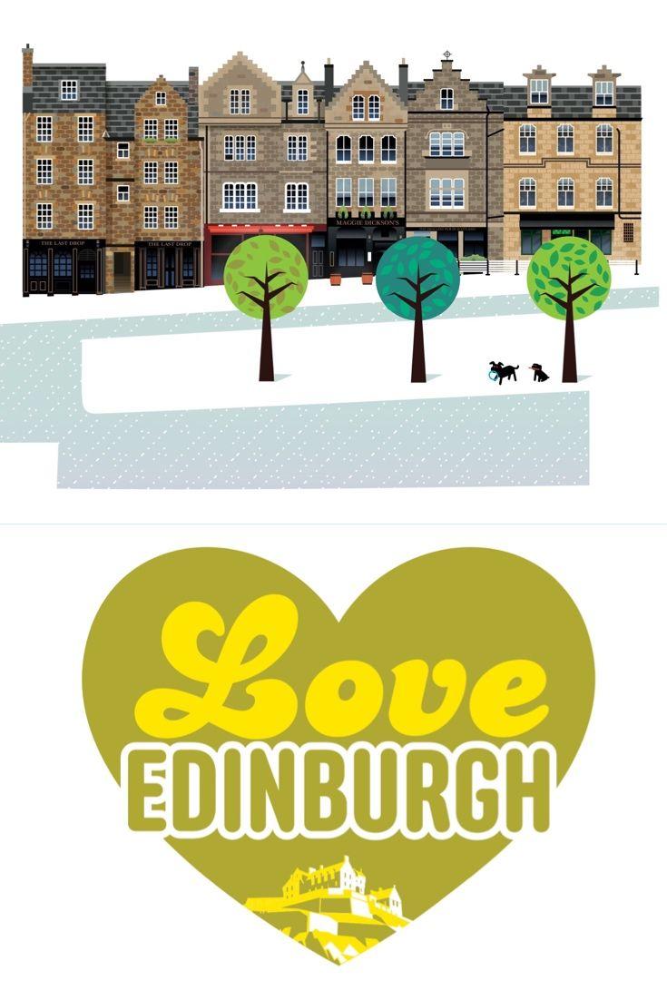 Edinburgh Illustration Print   Grassmarket   Love Edinburgh   Old ...