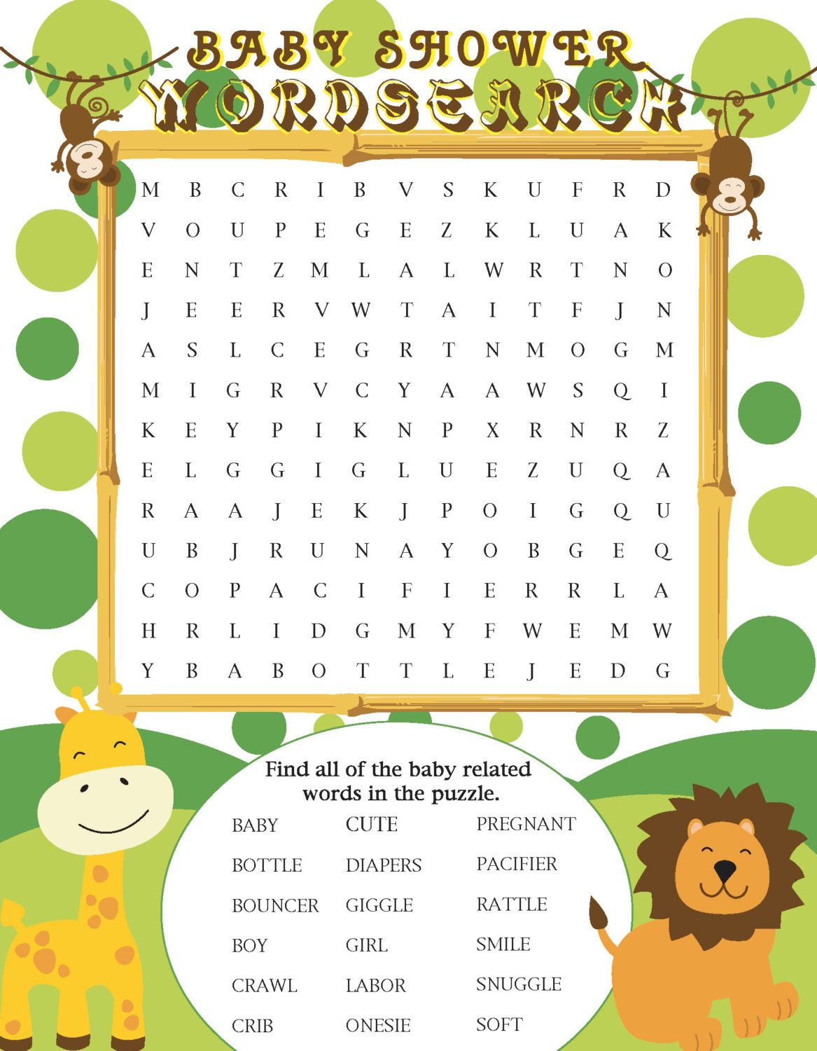 Printable Jungle Themed Baby Shower Word Search In
