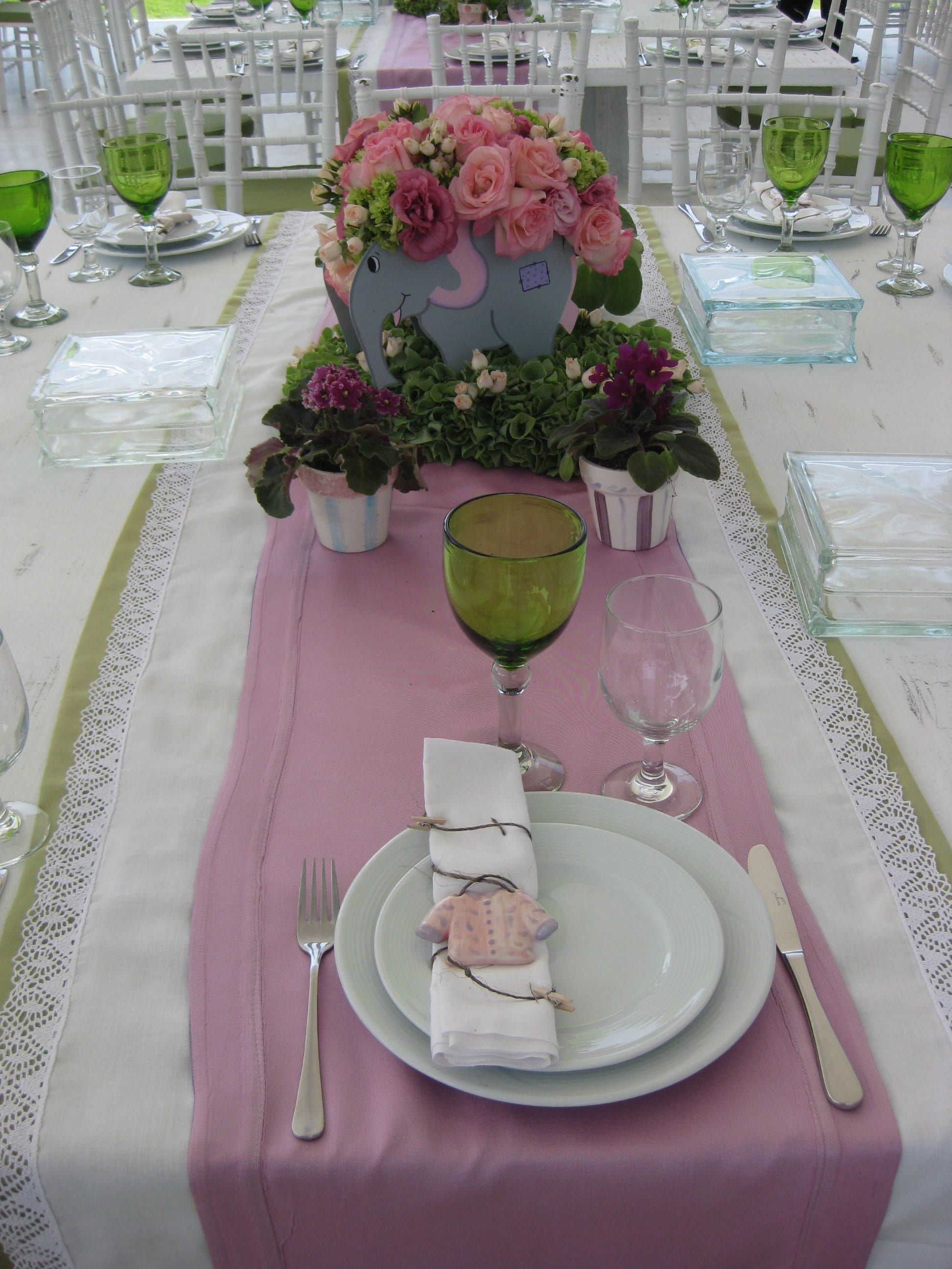 Baby girl christening Pink with green details linens