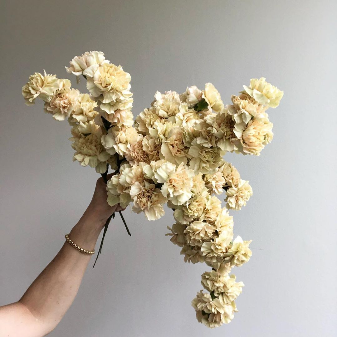 Sue Mcleary On Instagram Wired Carnation Spikes Ready To Get Tucked Into Their Floral Pillar I Love Using Carnations This In 2020 Carnations Floristry Floral Foam