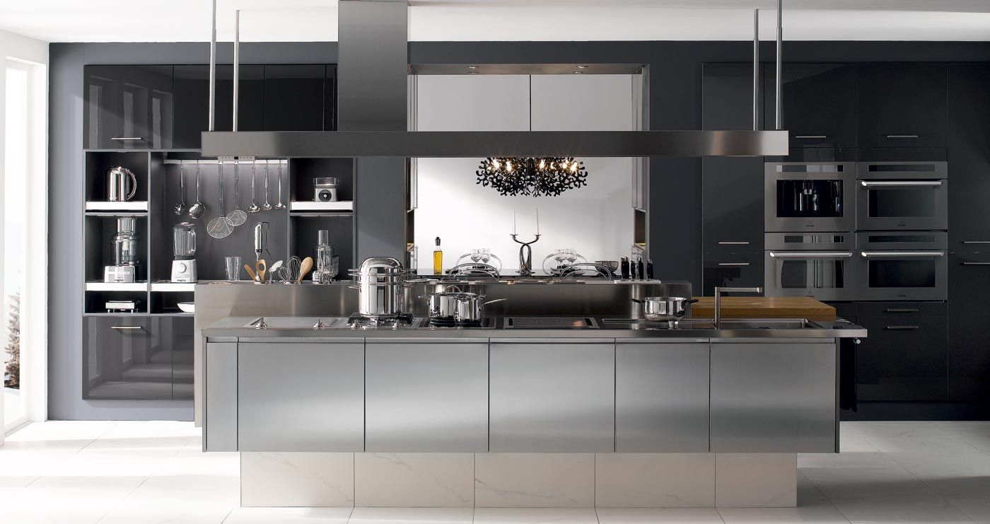 Cuisine i800 inox line v200 verni carbone brillant for Cuisine gris inox