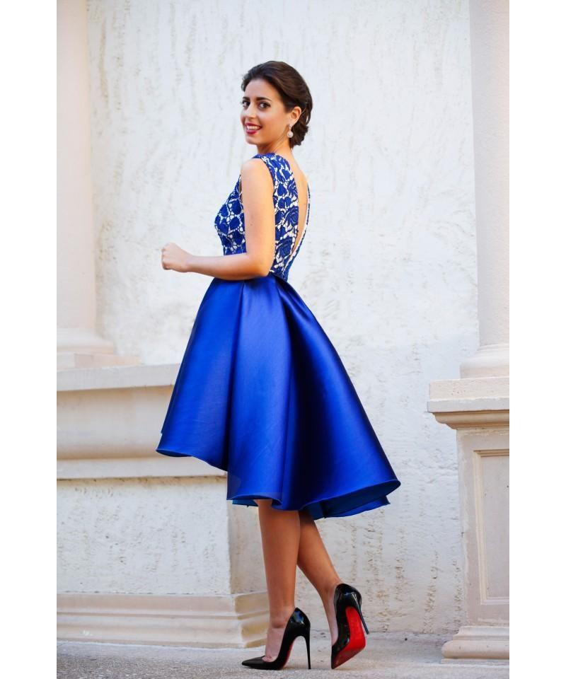 2016 Royal Blue V Neck Backless Short Prom Dresses Lace Satin Sexy ...