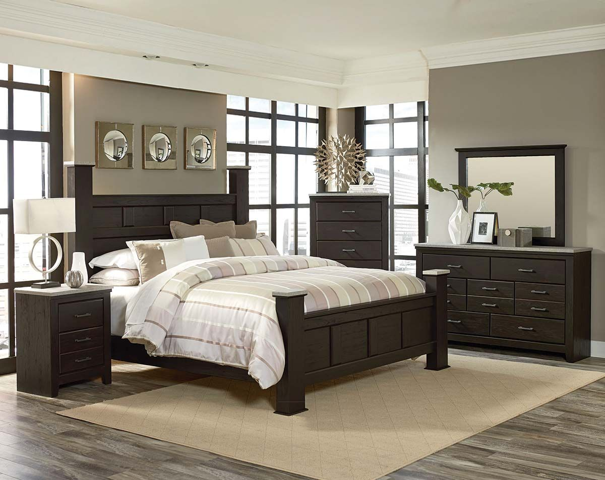 The Stonehill Dark Bedroom Set features a framed panel poster bed ...