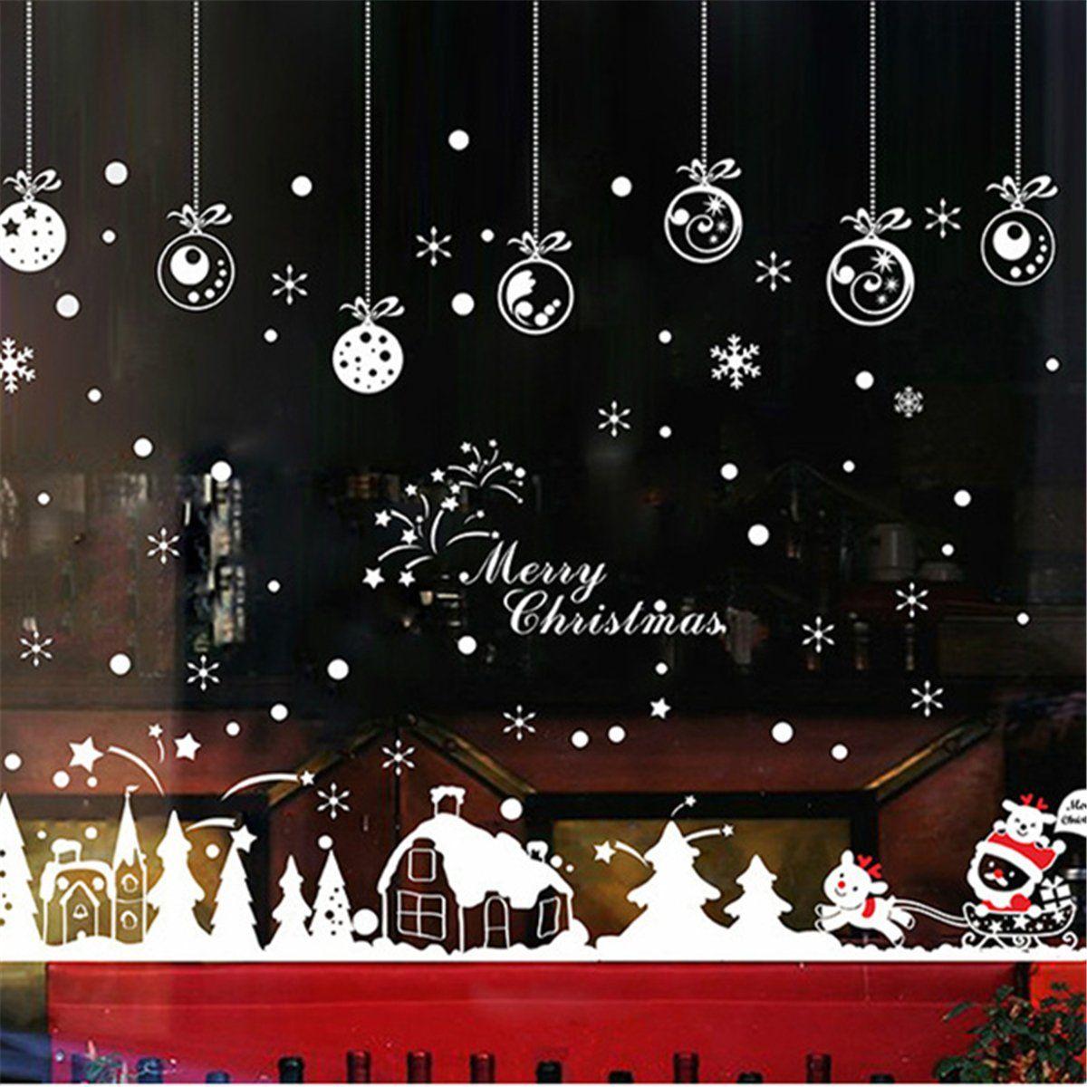Xmas Christmas Window Sticker Snowflake Reindeer Santa Claus Tree Home Decor Ne Weihnachten Fenster Aufkleber Fensterbilder Weihnachten Fensterdeko Weihnachten