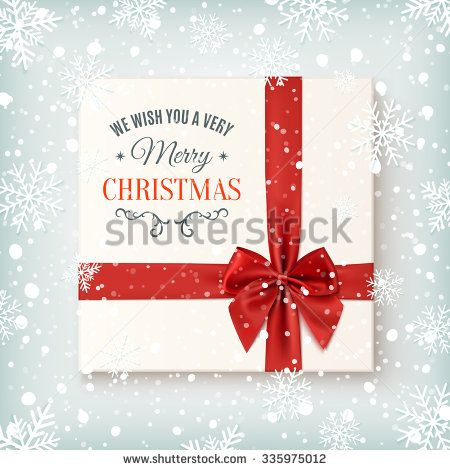Merry Christmas greeting card template Realistic gift icon, top - greeting card template