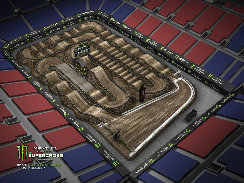 The Monster Energy Ama Supercross From Rice Eccles Stadium In Salt Lake City Ama Supercross Motocross Tracks Supercross