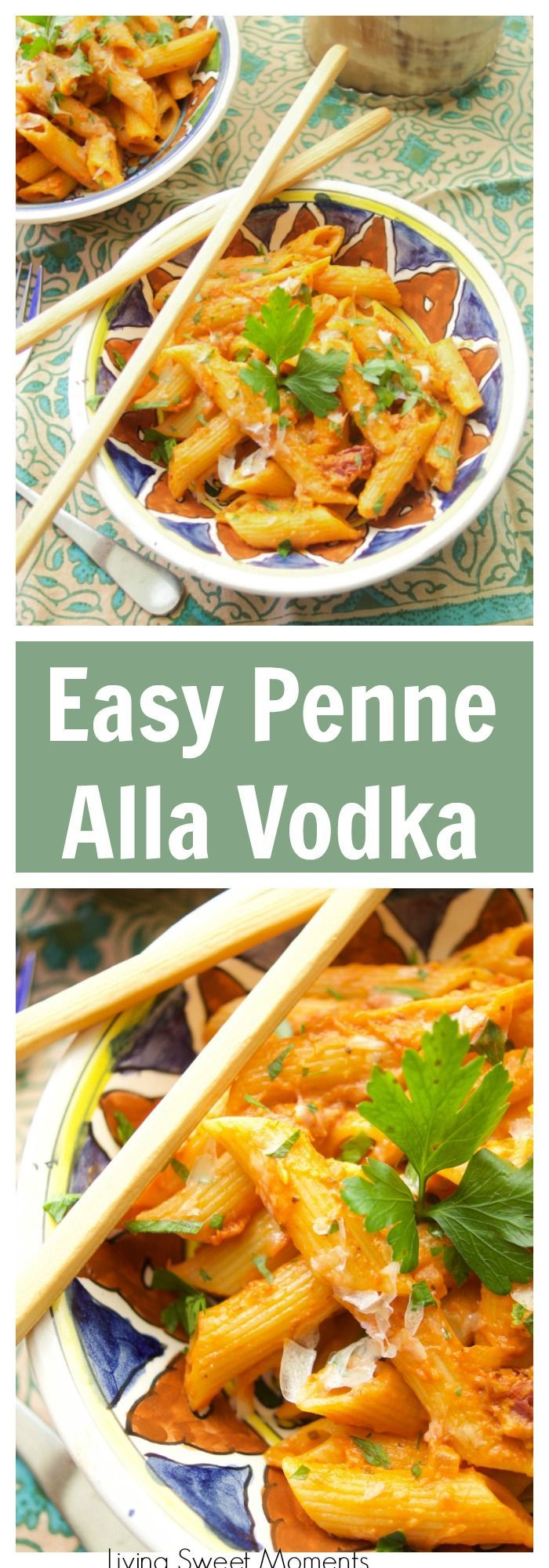 This easy and delicious Penne Alla Vodka recipe is ready in 20 minutes or less and is the perfect quick weeknight dinner idea for the family. Vegetarian too #ad #simmeredintradition