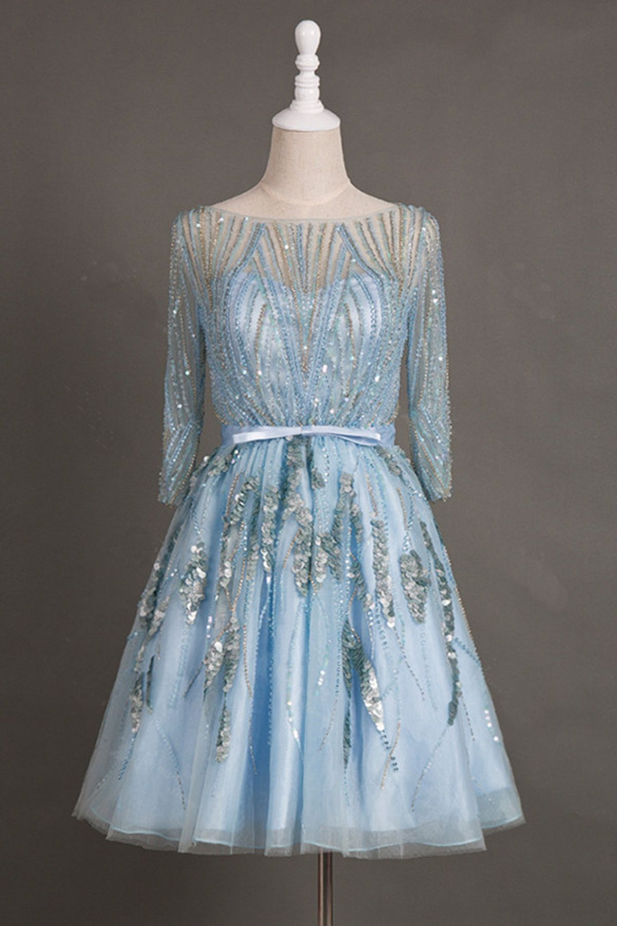 Cute ice blue sequins prom dresses with mid sleeves, homecoming ...