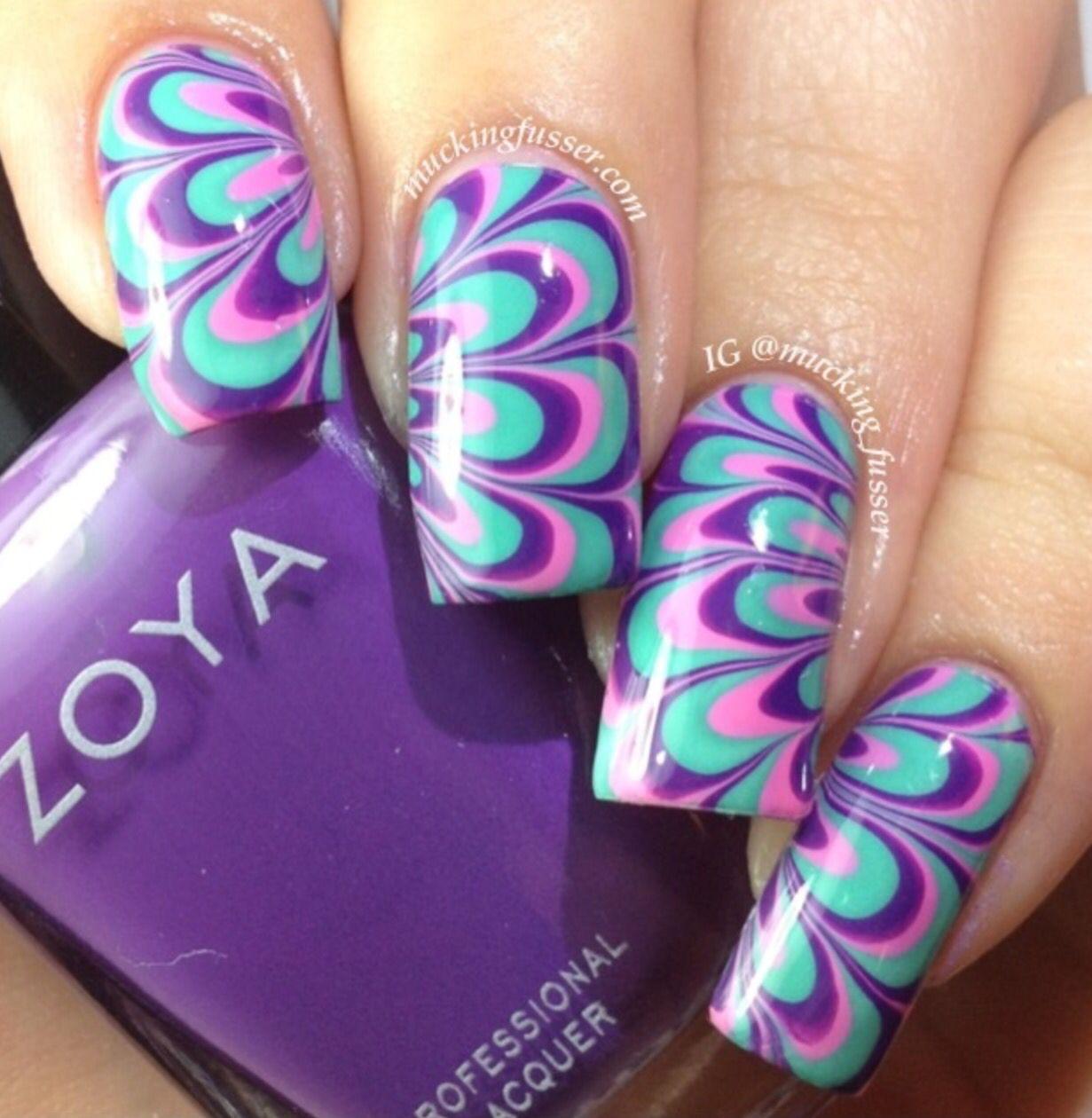 Purple Pink And Aqua Watermarble Water Nail Art Marble Nail Designs Nail Art Techniques
